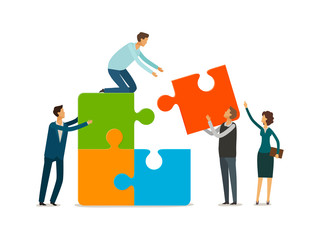 Teamwork concept. Business people with puzzle pieces working together. Infographics vector illustration