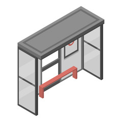 Bus stop icon. Isometric of bus stop vector icon for web design isolated on white background