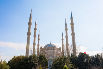 Sabanci Central Mosque in Adana, Seyhan city of Turkey with blue sky with mosque minarets.