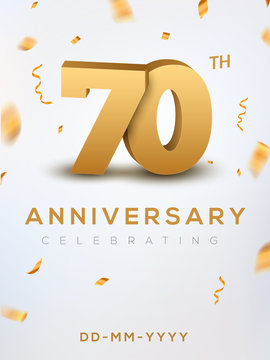 70 Anniversary gold numbers with golden confetti. Celebration 70th anniversary event party template