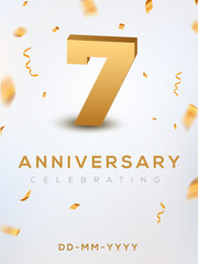 7 Anniversary gold numbers with golden confetti. Celebration 7th anniversary event party template