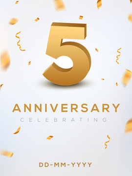 5 Anniversary gold numbers with golden confetti. Celebration 5th anniversary event party template