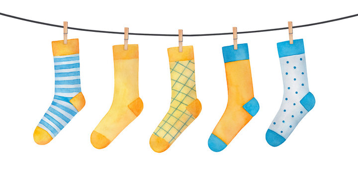 Various colorful socks on clothesline. Striped, checkered, polkadot patterned pairs; turquoise blue and yellow colors. Handdrawn watercolour illustration on white, cutout clip art element for design.
