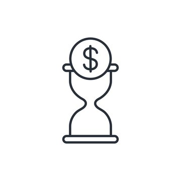 Financial hour Vector icon, white background.