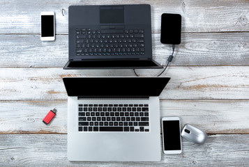 Technology on white desktop for business or education use