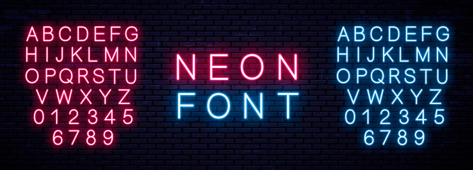 Realistic Neon English Alphabet. Vector Illustration