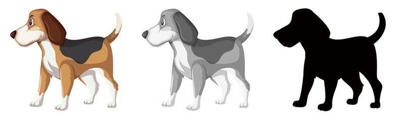 Set of beagle dog character