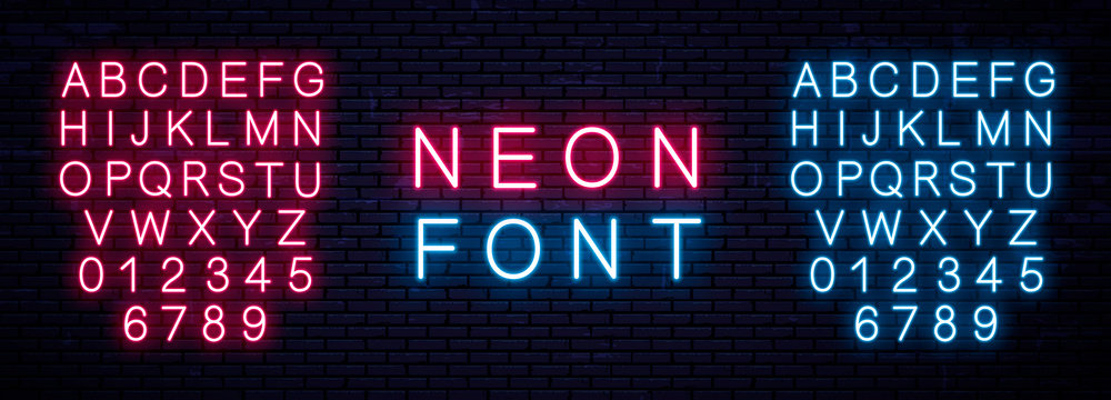 Realistic Neon English Alphabet. Vector Illustration