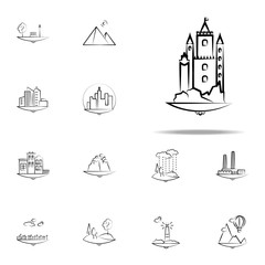 castle icon. Landspace icons universal set for web and mobile