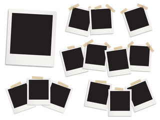 Realistic detailed photo frames with shadows vector templates.