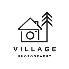 village home with camera photography logo icon vector template