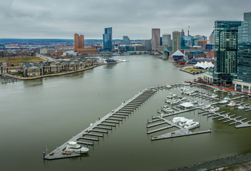 Aerial view of Baltimore Inner harbor skyline in Maryland USA