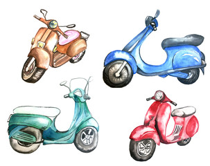 Fotobehang Motorfiets vintage scooter isolated on white