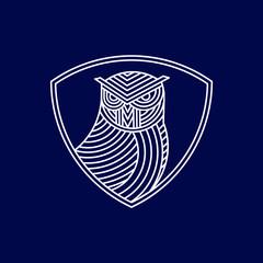 monoline owl bird logo icon vector template