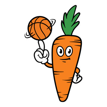 Cartoon Carrot Character Spinning a Basketball