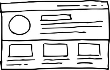 Monochrome Rough sketch of website mockup