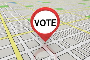 Vote Election Precinct District Polling Map Pin 3d Illustration