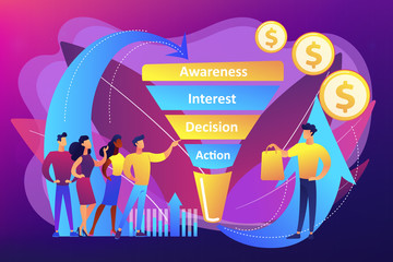 Sales funnel management concept vector illustration.