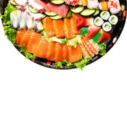 Sushi Set. Different sashimi, sushi and rolls isolated on white background