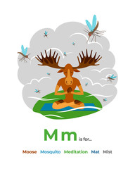 English alphabet Colored cartoon with letter M for children, with pictures to these letter with moose, mosquito, meditation, mat, mist. - Vector