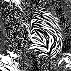 Modern black and white Mixed animal skin,tiger,zebra,leopard,snake, background. Seamless pattern vector design for fashion fabric ,wallpaper