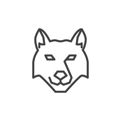 Wolf head line icon. linear style sign for mobile concept and web design. Dog outline vector icon. Wild animals symbol, logo illustration. Pixel perfect vector graphics
