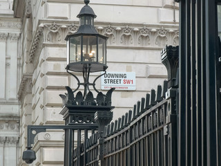 street sign outside downing street, london