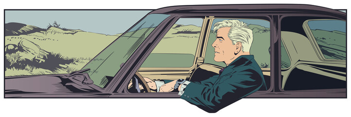 Man driving car. Stock illustration.