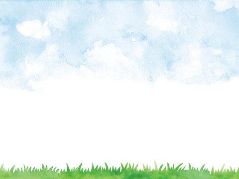 水彩 空と芝生
