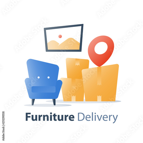 Move In Home Furniture Delivery Service Fast Relocation Armchair And Pile Of Bo