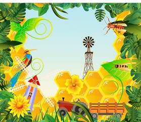 Concept vector illustration of farmland, countryside rural farmland elements