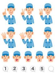 指で数字を数えるブルーの作業着を着た男性の上半身 表情と数字のセット