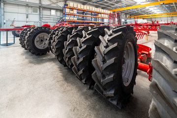 Rubber wheels for agricultural machinery.