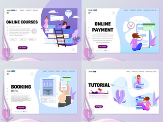 Set of business concept website templates or landing page. Online booking courses, and training