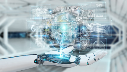 Cyborg using wireframe holographic 3D digital projection of an engine