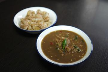 Obraz Shrimp Paste Chilli Sauce or Nam Prik Ka Pi with Pork scratching - fototapety do salonu