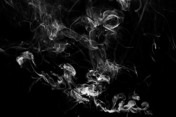 close up of steam smoke on black background