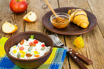 Fresh cottage cheese with candied fruit and nuts, honey, croissant for lunch.