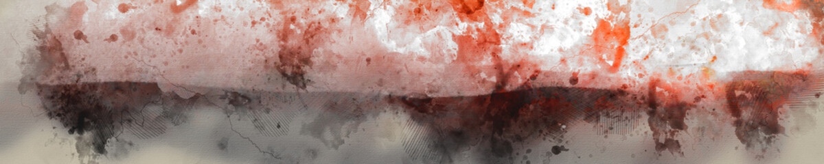 Abstract Digital Artistic High Resolution Watercolor Painting of Banner with Vivid Orange and Red Colors on Realistic Paper Texture.