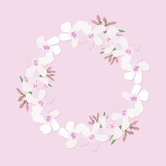 Floral wreath with branch of delicate pink blooming flowers, bud and leaves isolated on pink background. Design for invitation, wedding or greeting cards with tropical exotic oleander. Vector