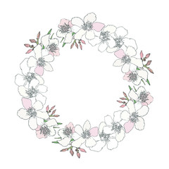 Floral wreath with branch of pink and black and white blooming flowers, bud isolated on white background. Design for invitation, wedding or greeting cards with tropical exotic oleander. Vector