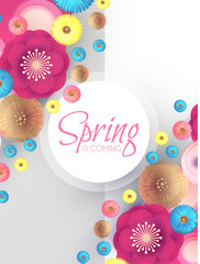 Flower Paper Cut Spring Design Template with REalistic Shadows.