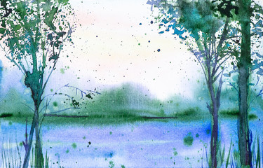 Watercolor illustration of a beautiful summer forest landscape on the lake