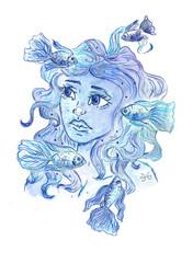 Fish zodiac sign. Beautiful girl. Watercolor illustration.