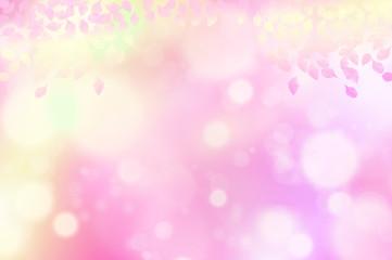 ピンク色の葉 水玉,バブル,光のバックグラウンド