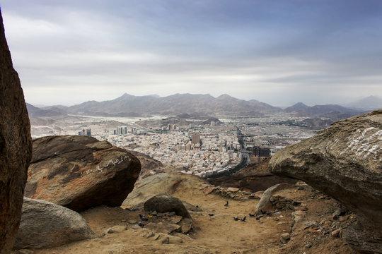Beautiful view of makkah city view from Sour Mountain Saudi Arabia