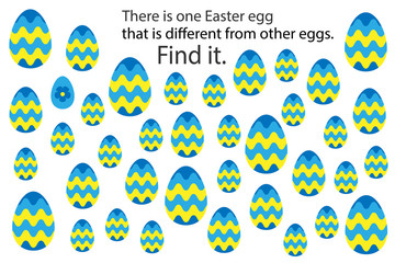Find decoration easter egg that different, fun education puzzle game for children, preschool worksheet activity for kids, task for the development of logical thinking and mind, vector illustration