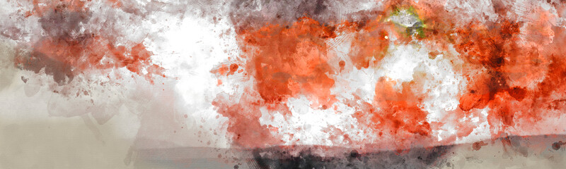 Abstract Digital High Resolution Artistic Watercolor Painting of Banner with Vivid Orange, Red and Yellow Colors on Realistic Paper Texture for Design Projects.