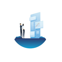 Business report and analysis vector concept with businessman and businesswoman looking at document. Symbol of planning, strategy, data analytics and management.