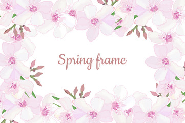 Elegant floral horizontal frame with delicate pink blooming flowers, buds.  Design template for invitation, celebration, wedding or greeting cards with tropical exotic oleander. Vector